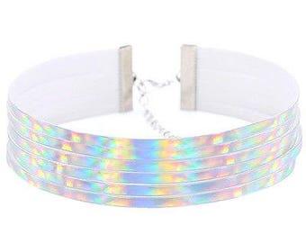 Stunning ribboned effect iridescent choker necklace
