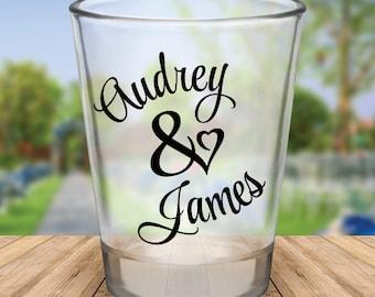 Custom Personalized Heart Wedding Favor Shot Glasses