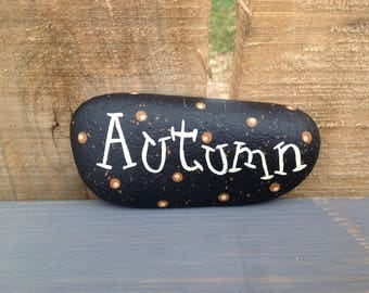 Autumn Painted Rock Paperweight, Fall Decor, Office Supply