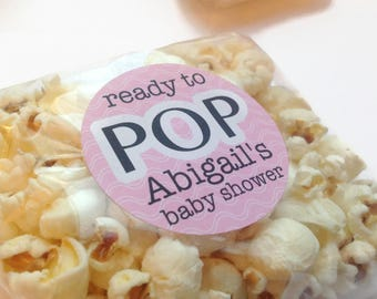 Ready to pop stickers, she's about to pop, baby shower stickers, baby shower favour, popcorn favour stickers, 244 - Pink