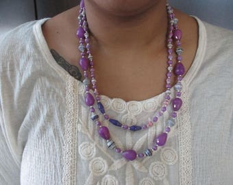 African Purple Paper Bead and Purple Agate Necklace