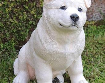 White American Akita Puppy Dog Sculpture
