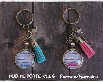 "Key chain duo - request sponsor ""will you be my godfather / godmother""-christening"