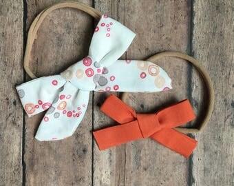 Bow Set || Orange and Gray