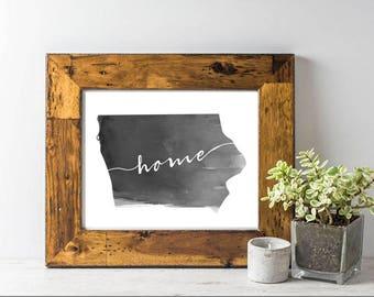 """Digital Iowa """"home"""" Watercolor Print"""