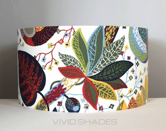 Scandinavian fabric lampshade 40cm or 45cm handmade by vivid shades, funky retro  botanical flower pattern floral leaf tropical lamp shade