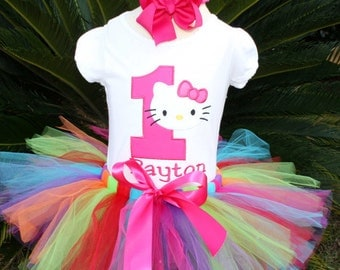 Kitty Rainbow tutu set