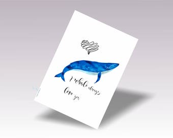 Whale Art, Whale Nursery, Nursery Whale Art Digital, Whale Wall Print, Baby Whale Wall Art, I Whale Always Love You, Acuarela animales