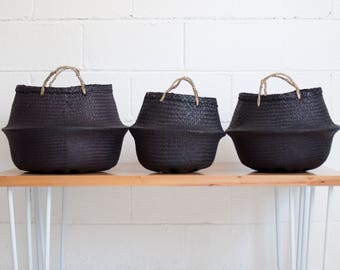 Noir Seagrass Belly Basket - Black Rice Baskets