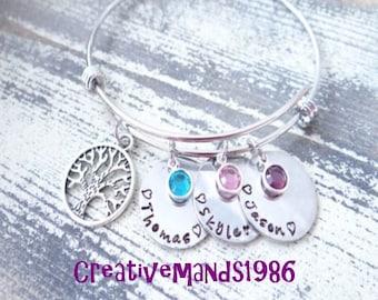 Custom Family Tree bracelet, Mommy Bracelet, Grandma Bracelet, family tree, family bracelet, stamped bracelet, bangle bracelet