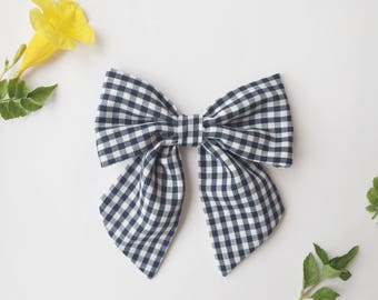 Oversized Sailor Bow, Navy Gingham