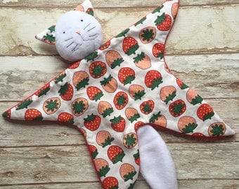 Baby blankie comforter cat first toy motif strawberries