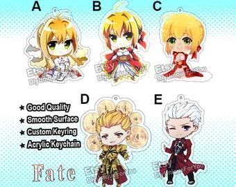 Fate Stay Night / Fate Zero / Fate Grand Order Acrylic Charm Keychain (  Saber , Archer Emiya ,Gilgamesh )