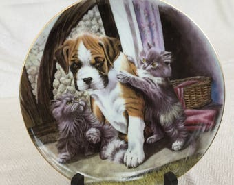 Cats And Dog Decorative Plate
