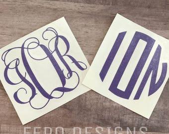 Monogram Decal. Personalized Name Decal. Custom Glitter Monogram Sticker for Yeti Tumbler. Custom Glitter Name Sticker