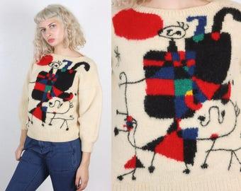 Vintage 80s Sweater // Colorful Geometric Pattern Pullover Jumper Womens - Medium