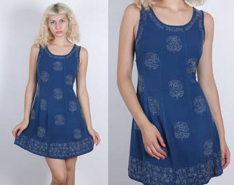 90s Embroidered Floral Dress // Vintage Grunge Mini Dress Blue - Free Size, Small Medium Large