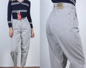 80s Esprit Sport Jeans // Vintage Pinstriped Denim Pants Tapered High Waist Mom Jeans - Medium