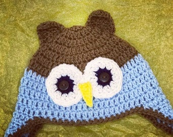 Crochet Owl beanie for toddle boy