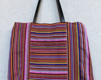Striped cloth bag-violet-blue black leather handles