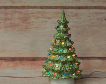 "Retro Lighted Christmas Tree - 9"""
