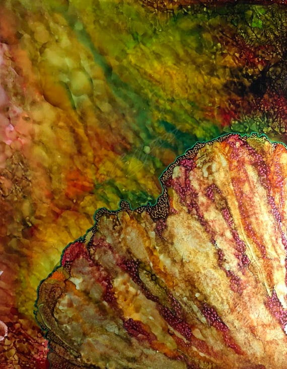 "Original Alcohol Ink Abstract Painting: ""Glow"" (11"" X 14"")"