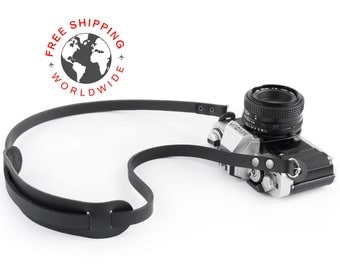 Leather camera strap (The ''absolute'' (Matte black))