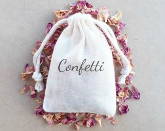 Wedding Confetti Stamped Muslin Bags Biodegradable Floral Petal Confetti Wedding Exit Toss x 20