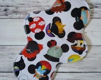 "Mama Cloth Princess Villians 10"" Moderate - Zorb Core - Cloth Menstrual Pad - Reusable Cloth Pad - Nerdy Ispy Hats"