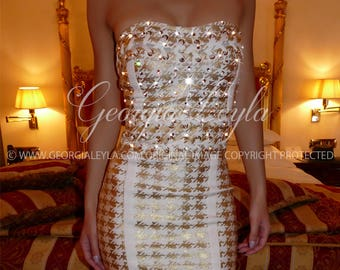 Swarovski Crystals Gold Chain Dress - ON SALE - Ready to be shipped - Free Express Shipping -  - GeorgiaLeyla Classic Glamour
