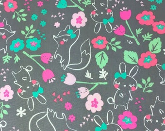Fox & Bunny Floral 100% Cotton Fabric , Childrens cotton , Craft Cotton , Quilting cotton