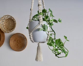 CHARITY DONATION Classic White Macramé Plant Hanger with Real Antler Beads