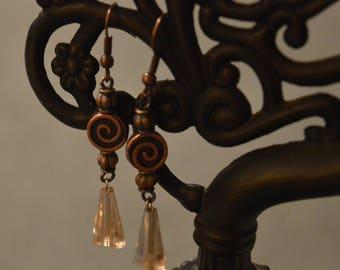 Copper Crystal Dangle Earrings