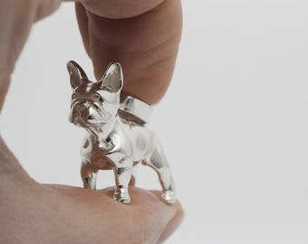 Vakkancs French Bulldog pendant (solid sterling silver, 3D)