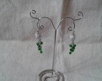 Green and White Pearl Earrings