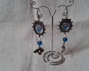 hot air balloon earrings, leaves and beads