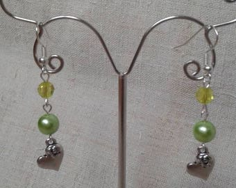 heart and green pearl earrings