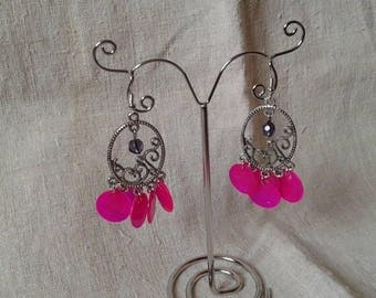"Earrings ""string of pink dots"""