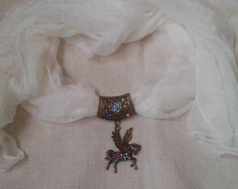 beautiful white scarf and multicolored Pegasus