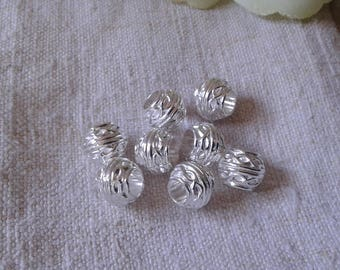 set of 10 beads with large holes, silver metal