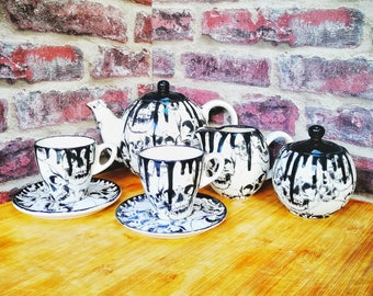 Skull tea set, Gothic ceramic teaset, Goth cup saucer, milk jug, skulls teapot, tea coffee, afternoon tea, weird and wonderful, Sugar pot