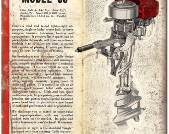 """Cailles Outboard Model 88 Boating Vintage Ad 10"""" x 7"""" Reproduction Metal Sign"""