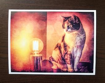 Cat painting print, cat lover gift, artwork, cute calico cat, cat art, mixedmedia painting, feline art, pet portrait, illustration
