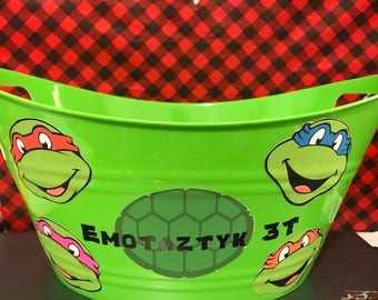 Ninja Turtle Toy Basket, Personalized Basket, Toy Bucket, Gift Basket, Kids Gift, Toy Basket,Lego Basket