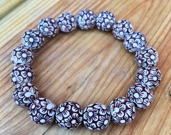 10mm Stackable Flower Power Bracelet || Women's Beaded Bracelet ||