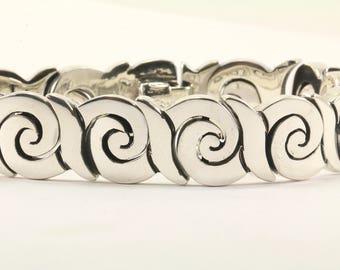 Vintage Mexico Scroll Design Link Bracelet 925 Sterling BR 2174
