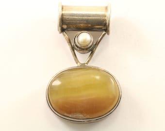 Vintage Yellow Quartz Pendant 925 Sterling Silver PD 2355