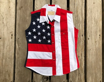 American Flag Sleeveless Vintage Button Down Top