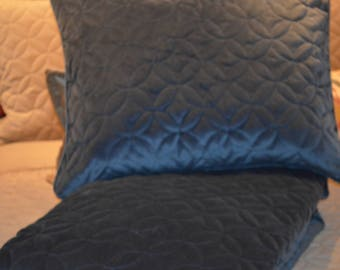 Sapphire Navy Sham SET OF TWO Cottonrich Velvet, Soft Luxurious Upholstery Velvet, embroider quilt with piping in all seams /zipper closure