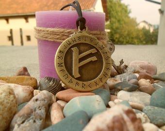 Fehu Viking Rune letter necklace,Fehu rune letter keychain,Harmony & Wisdom Rune necklace keychain,Norse symbol,Lucky keychain